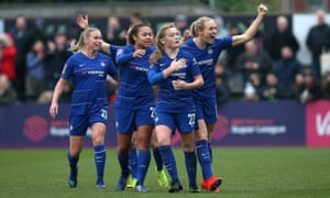 Erin Cuthbert of Chelsea celebrates after scoring their second goal.