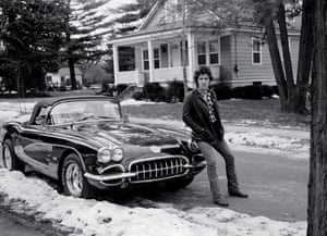 """his photograph titled, """"Corvette Winter"""" was made in Haddonfield, New Jersey in 1978, during the """"Darkness"""" sessions. It, most recently, was used for the book cover of Bruce's memoir book, titled """"Born to Run"""""""