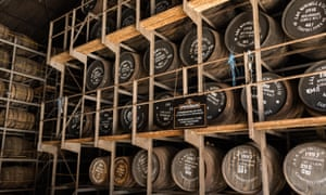 Springbank Distillery racked warehouse full of maturing whisky casks, Campbeltown, Argyll and Bute, Scotland, UK