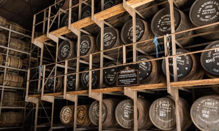 Springbank Distillery racked warehouse full of maturing whisky casks, Campbeltown, Argyll and Bute, Scotland, UK