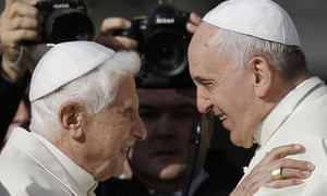 The former Pope Benedict and his successor, Pope Francis