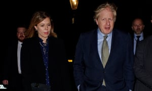 Boris Johnson and Carrie Symonds attend Evgeny Lebedev's Christmas party a day after Johnson's landslide election win.