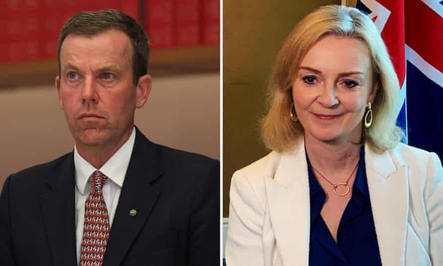 Australian trade minister Dan Tehan and UK trade secretary Liz Truss