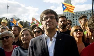 Catalonia's regional president, Carles Puigdemont takes part in a rally celebrating the Diada in Barcelona