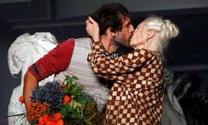 British designer Vivienne Westwood kisses her husband Andreas Kronthaler