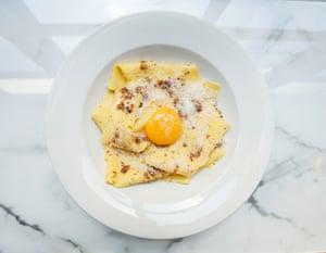 'Orgasmic' handkerchief walnut pasta at Bancone Restaurant, Covent Garden, London.