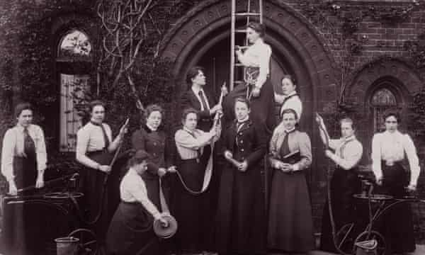 UK female firefighters during a training session in about 1900.
