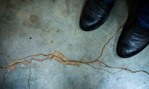 A cracked basement floor in Prague, Oklahoma, US