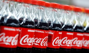 Plastic bottles of Coca-Cola at a supermarket