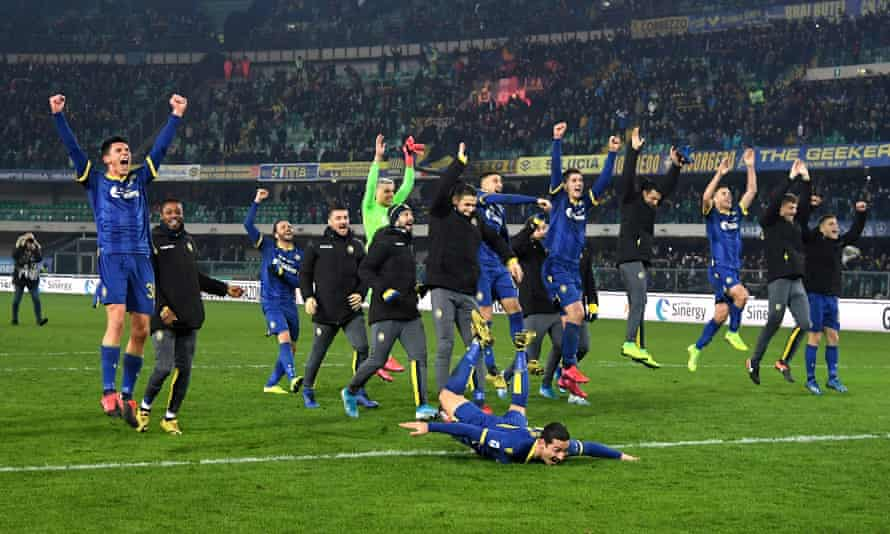 Verona's players celebrate after their shock comeback win against the Serie A champions Juventus.