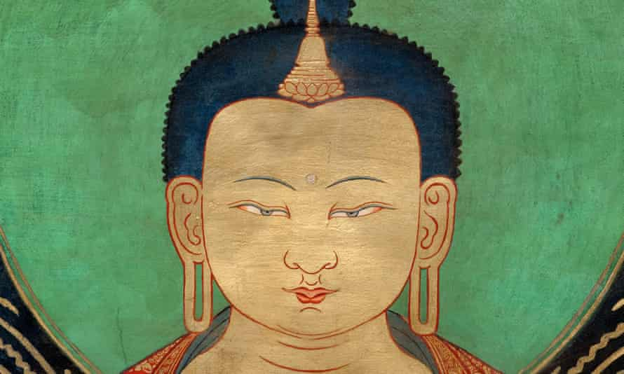 Detail of Maitreya from Murals of Tibet by Thomas Laird.