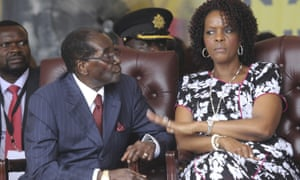Zimbabwe's president, Robert Mugabe, sits with his wife Grace during commemorations to mark his birthday last year.