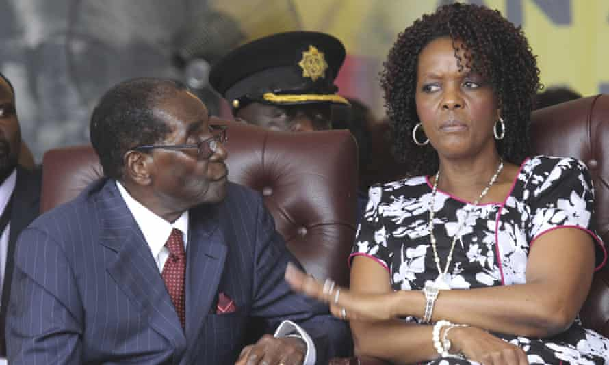 Robert Mugabe with his wife Grace at his 92nd birthday celebrations last year.
