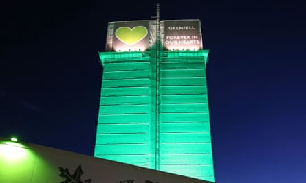 Grenfell Tower in west London is lit up in green on the third anniversary of the fire that killed 72 people.