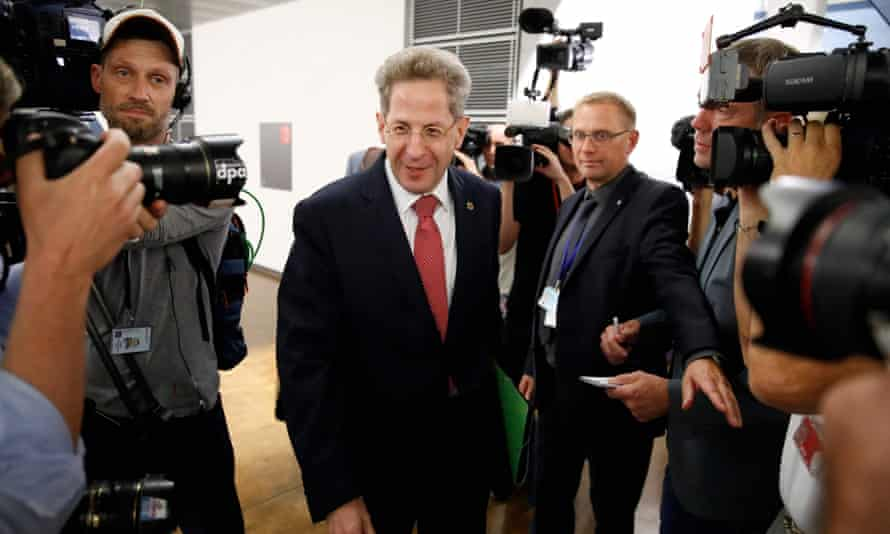 Hans-Georg Maaßen arrives for a hearing in front of a parliamentary panel in Berlin.