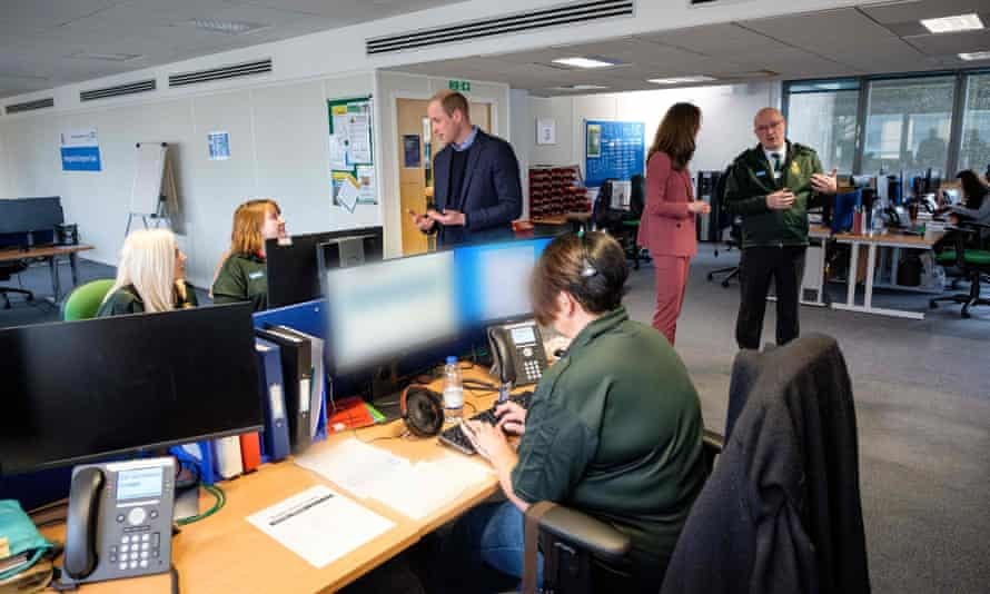 The Duke and Duchess of Cambridge visiting London Ambulance Service's 111 control room in Croydon, south London, 20 March 2020