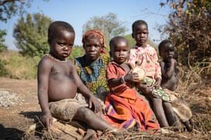 Ochgoro Somra and her children Farida, 4, left, Siragi, nearly 2, Mondoro Farida, 4, and Shahid, 3, were living in Bidi Bidi before it filled up with arrivals from South Sudan.