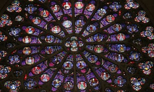 The stained glass rosace on the southern side of the Notre-Dame de Paris cathedral.