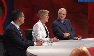 Liberal senator Zed Seselja, human rights advocate Gillian Triggs and host Tony Jones on Q&A on Monday night