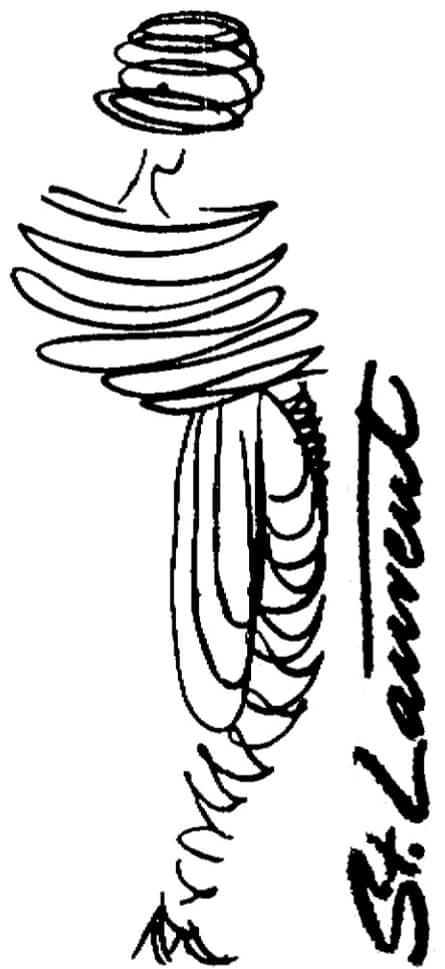 Cecil Beaton illustration St Laurent, Observer 22 June 1958.