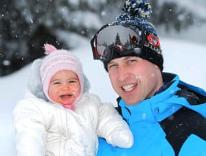 Prince William with daughter Princess Charlotte during a family skiing break