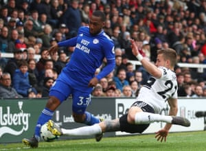 Cardiff City's Junior Hoilett, tackled by Fulham's Joe Bryan at Craven Cottage. Fulham's 1-0 win was their third consecutive Premier League victory, the first time since March 2012 they have achieved the feat, earning as many points as their previous 20 games combined (W2 D3 L15) in the process.