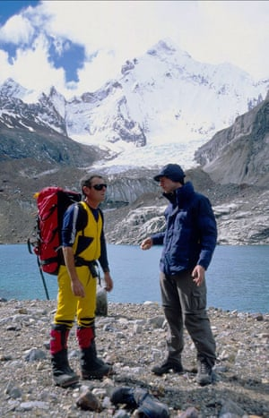 Return to hell … Joe Simpson, left, in the Andes with director Kevin Macdonald during the filming of Touching the Void.