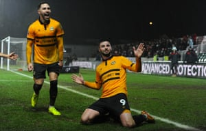 Pádraig Amond, right, celebrates scoring his side's second goal during the FA Cup fourth-round replay against Middlesbrough.