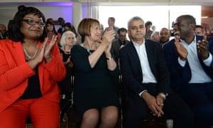 Diane Abbott, Tessa Jowell, Sadiq Khan and David Lammy after the result was announced.
