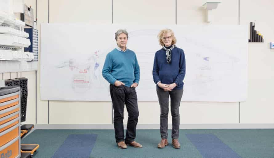 Hugo Spowers and his wife Fiona Clancy at their Riversimple hydrogen car company HQ