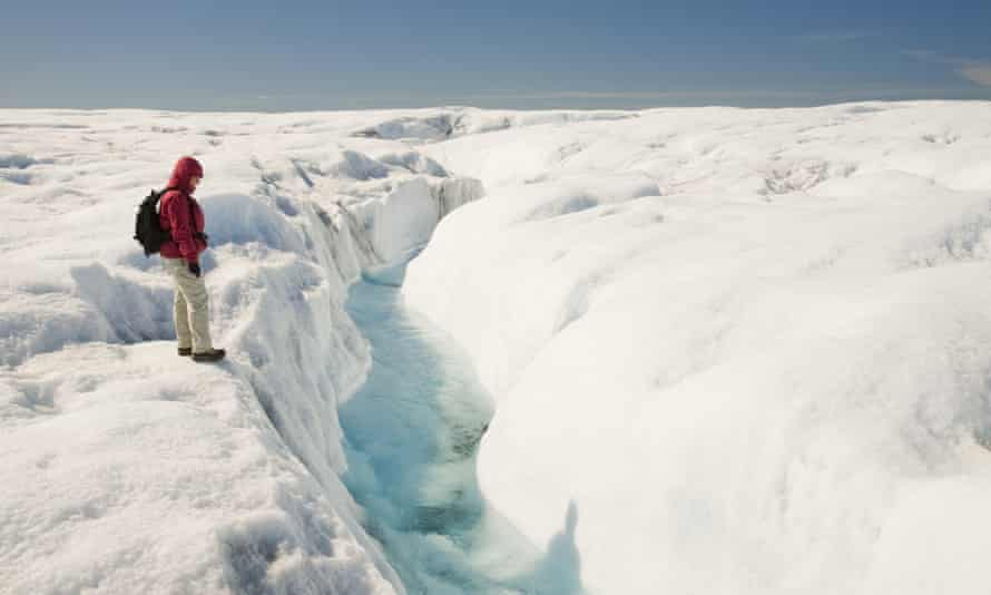 Melt water on the Greenland ice sheet, north of Ilulissat.