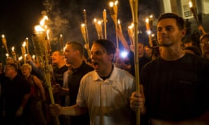 Neo-Nazis and white supremacists at the University of Virginia after marching through the campus with torches in Charlottesville, Virginia, in August 2017.