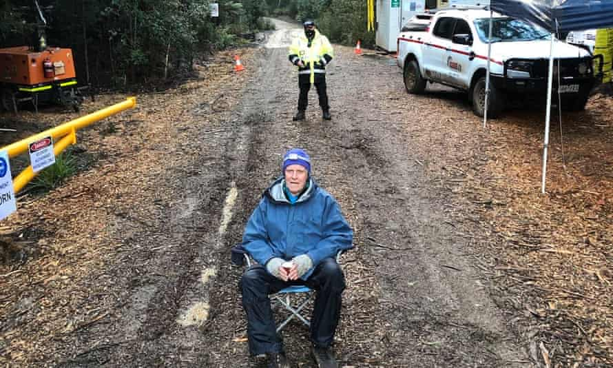 Frits Harmsen, 77, who was arrested Friday while protesting a mining development in Tarkine, northwest Tasmania.
