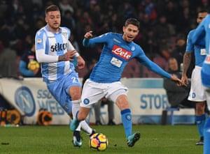 Jorginho gets away from Sergej Milinkovic-Savic as Napoli host Lazio in 2018.