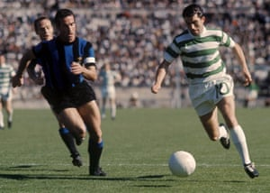Celtic's Bertie Auld runs at Inter Milan's Armando Picchi during the 1967 European Cup final.