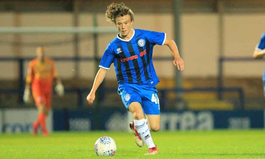 Rochdale's 15-year-old Luke Matheson on his first-team debut against Bury on Tuesday, becoming the club's youngest player.