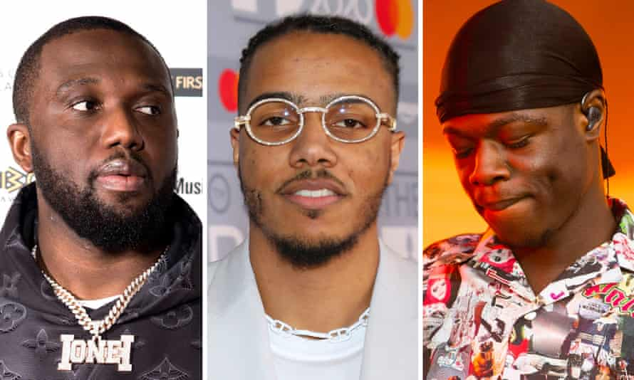 'If one genre looks dominant, it's UK rap' ... (L-R) Headie One, AJ Tracey and J Hus.