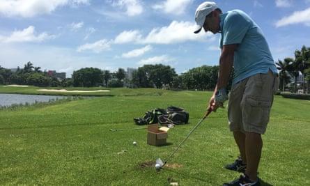 Max Borges practises on Miami Beach golf course.