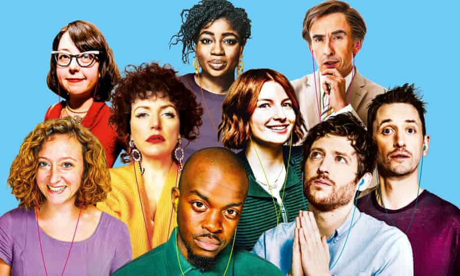 24-hour poddy people … (l-r) Kaitlin Prest; Karina Longworth; Annie Mac; Clara Amfo; George the Poet; Alice Levine; Alan Partridge; Elis James and John Robins.