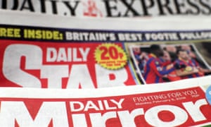 Daily Mirror, Daily Star and the Daily Express mastheads