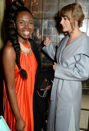Vogue staffer Deborah Ababio, left, and Taylor Swift at the Bafta Vogue party, Annabel's
