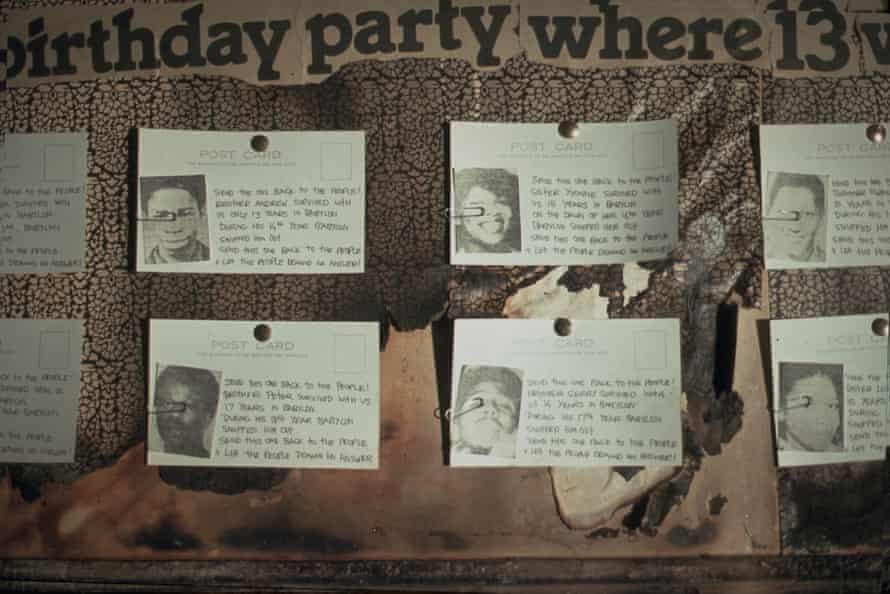 An installation shot of Piper's multi-media piece 13 Dead 1981