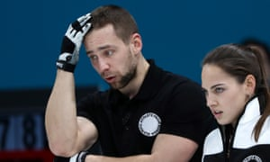 Alexander Krushelnitsky pictured with his wife, Anastasia Bryzgalova, during their bronze medal match against Norway.