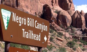 A sign at the entrance of Negro Bill canyon in Moab, Utah. A state committee has recommended keeping the name.