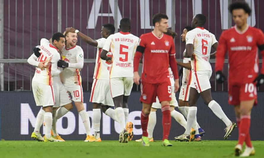Emil Forsberg is congratulated after making it 3-2 to Leipzig, before Thomas Müller later pegged them back.