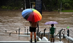 A ferry wharf on the currently over flowing Parramatta river today.