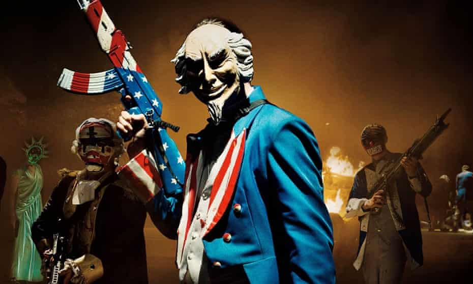 The mask slips … The Purge: Election Year, released in 2016, was a thinly veiled account of that year's US election campaign. Its tagline, 'Keep America Great' was later used by Donald Trump.