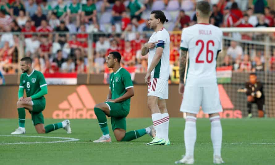 A section of fans at the Puskas Arena booed Republic of Ireland players as they took the knee on 8 June.