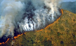 Rainforest burning in Brazil, 1989.