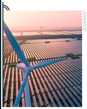 Wind turbine and solar panel field